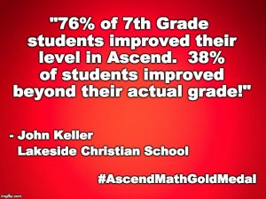 Lakeside Christian School has been awarded an Ascend Math Gold Medal for 2018!