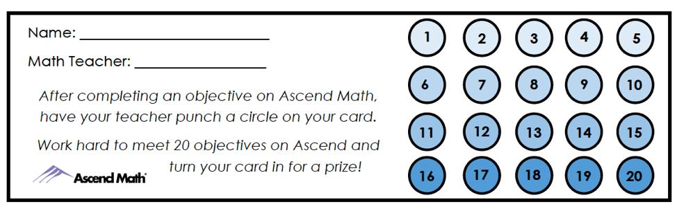 Ascend Math Punch Card