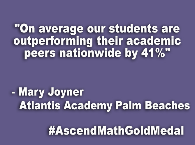 """On average our students are outperforming their academic peers nationwide by 41%"
