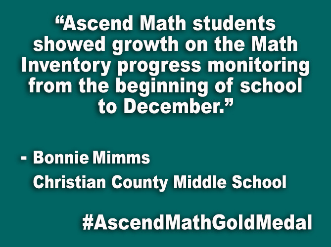 """Ascend Math students showed growth on the Math Inventory progress monitoring from the beginning of school to December."""