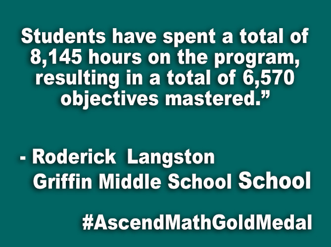 """Students have spent a total of 8,145 hours on the program, resulting in a total of 6,570 objectives mastered."""