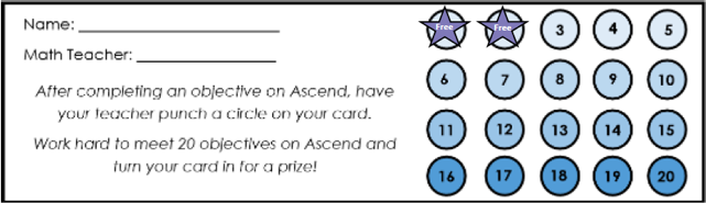 Ascend Math Punch Card