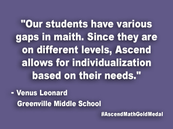 Greenville Middle School Ascend Math Gold Medal