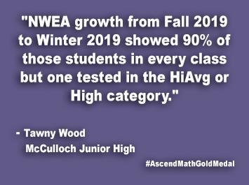 McCulloch Junior High Ascend Math Gold Medal