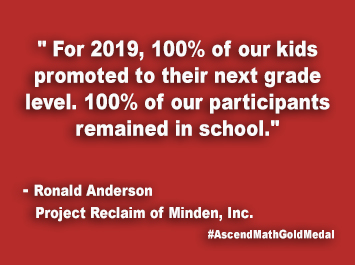 Project Reclaim of Minden Inc. Ascend Math Gold Medal